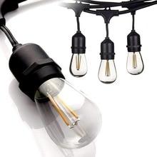 IP65 15 м светодио дный S14 строки Водонепроницаемый E27 теплые светодио дный Ретро Эдисон лампа накаливания открытый уличный патио праздник освещения