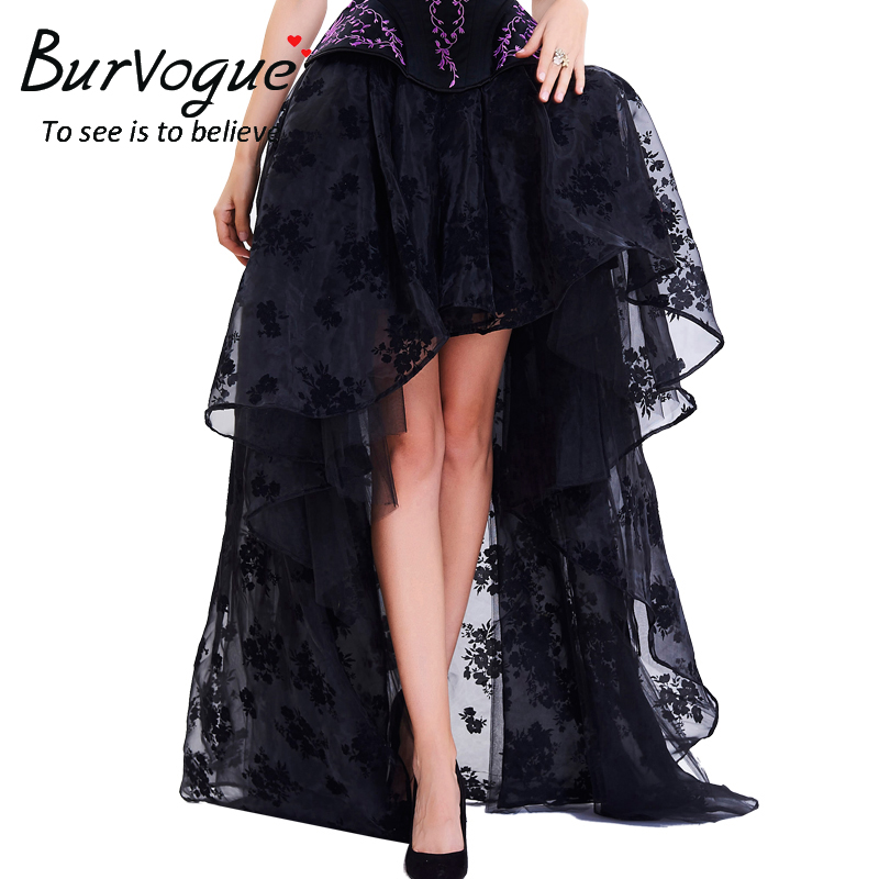 Burvogue Long Maxi Steampunk Elastic Skirts Women Black Fluffy Tulle Skirt Ruffled Chiffon Lace Midi Gothic