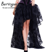 Burvogue Steampunk Skirts Gothic Elastic Victorian Asymmetrical Corset Black Fluffy Skirt Retro Ruffled Chiffon Lace Midi