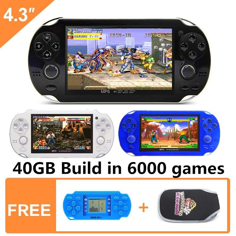 Nueva Consola De Juegos Portátil De 4,3 Pulgadas 64bit 40GB Consola De Videojuegos Portátil Construir En 6000 Juegos Para Arcade Gba Snes Nes Gbc Smd