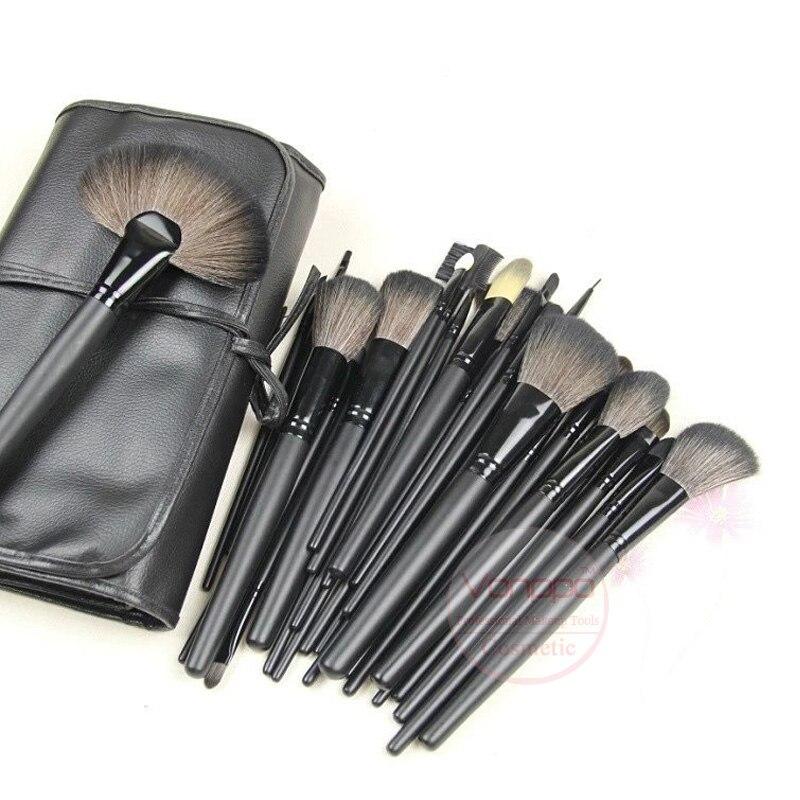 Neue Professionelle 24 Stücke Make-Up Pinsel Set Kosmetik bilden Bürsten Kit mit Schwarz PU Ledertasche Kostenloser Versand