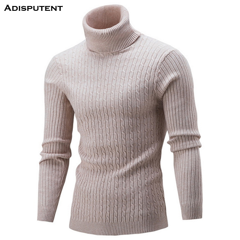 Adisputent 2019 NEW Autumn Men's High Neck  Male Solid Simple Slim Fit Hedging Turtleneck Knitted Long Sleeve Pullover Top