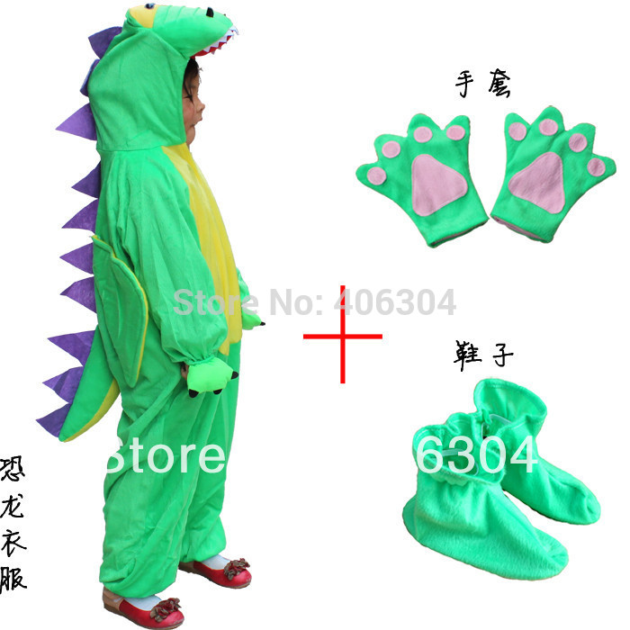Free shipping ,Children animal dinosaur costumes for kid ,halloween party cartoon character costume,clothes+gloves+shoes