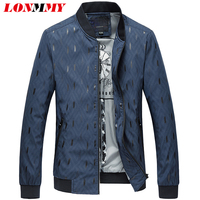LONMMY 4XL Outerwear jacket men Fashion print casual Streetwear coats mens Black wine red Navy Slim fit 2018 Autumn Spring