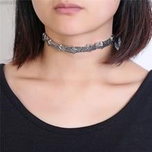 2017 Fashion  Antique Silver choker Bohemia geometry carving pendant shaped necklace wholesale retail