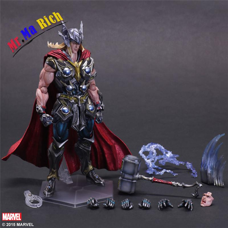 Play Arts Kai Thor Juguetes Pvc Action Figure Thor Hammer Brinquedos Collectible Model Kids Toys Doll Figurine 27cm halo 5 guardians play arts reform master chief action figure