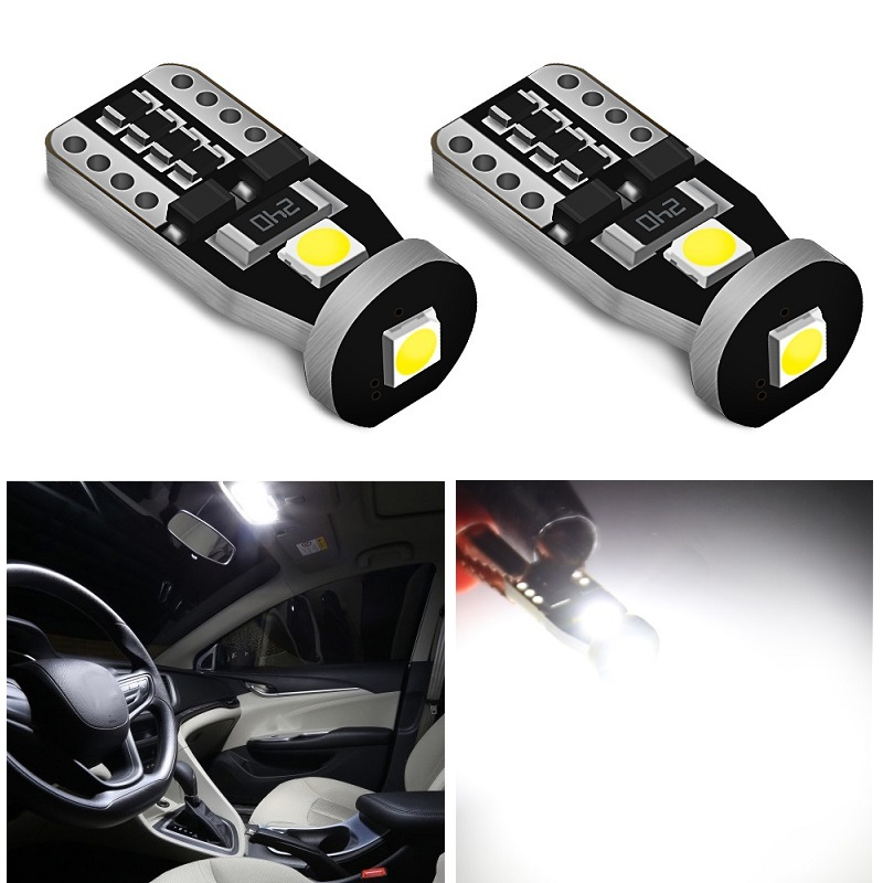 2x T10 W5W <font><b>Canbus</b></font> <font><b>LED</b></font> Car Bulb 12V <font><b>5W5</b></font> <font><b>LED</b></font> Car Interior Reading Light Wedge Side License Plate Lamp 6000K 168 194 White No Error image