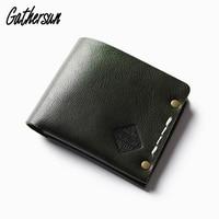 Rivet Wallet Leather Men's Handmade Vintage Wallet Italian Vegetable Tanned Leather Short Coin Pocket Wallet Men Purse Leather