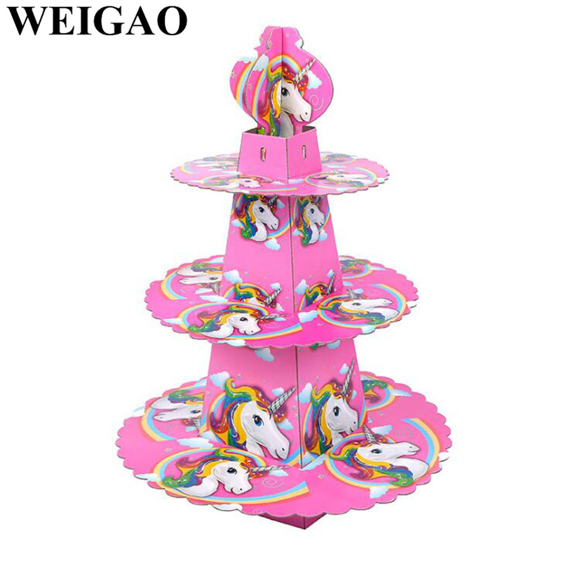 WEIGAO 1Set Unicorn Party 3 Tier Cake Stand Kids Birthday Party Decoration Baby Shower Cupcake Holder Candy Bar Decor Supplies