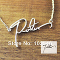 Nombre collar personalizado collar personalizado firma de escritura a mano collar de la joyería hecha a mano