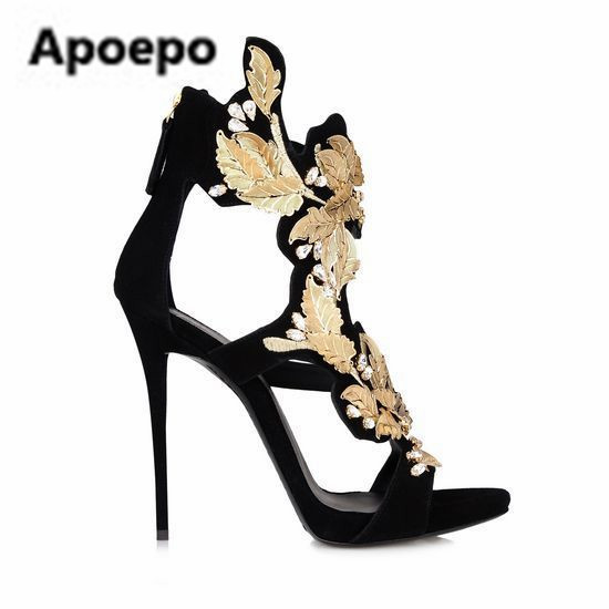 Apoepo brand high heels sandals cut out pointed toe with beautiful charm sandal black brown for woman in summer big size 35-41 sweet high heels sandals beautiful