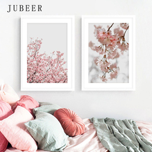 Scandinavian Style Pink Flowers Posters and Prints Sakura Pictures for Living Room Plant On the Wall Modern Home Decor