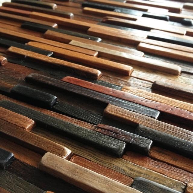 Natural Wood Backsplash Log Tile Kitchen Mosaic Panel Strip Floor Tiles Hme4035