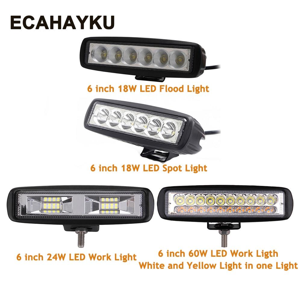 Pair 18w LED Work Light Bar Driving Headlight Waterproof Flood Spotlight Amber