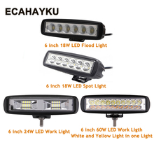 6 inch 18W 24W 60W 12V LED Work Light Bar Spotlight Flood Driving Lamp Off road for jeep 4x4 truck Ford Toyota SUV car styling