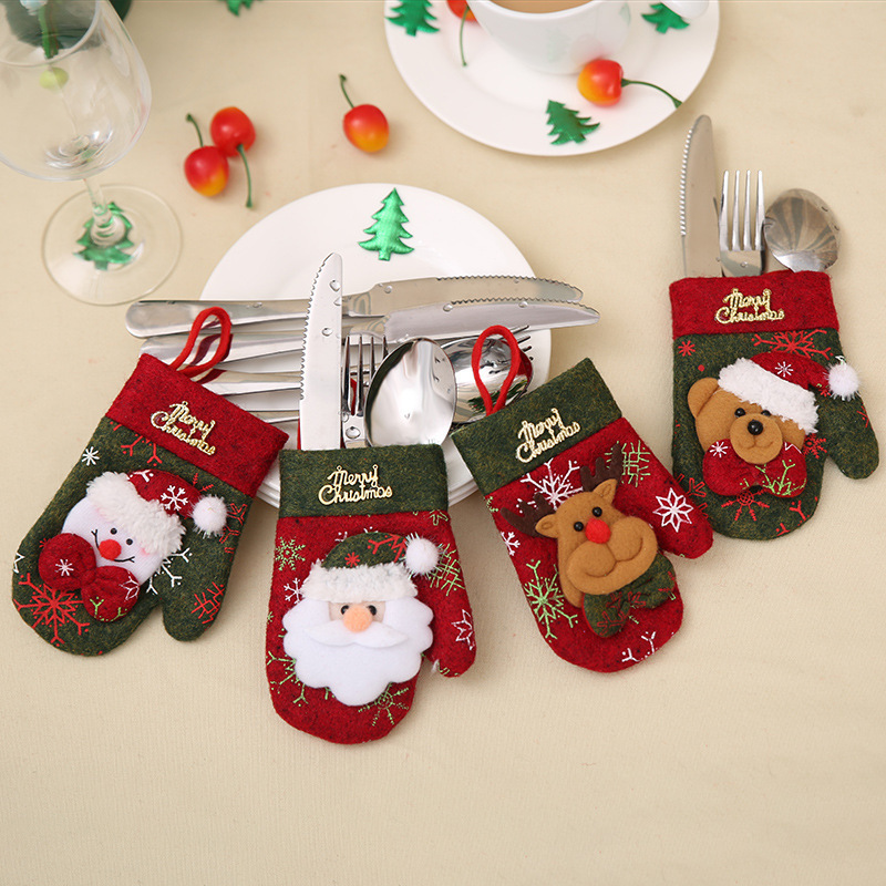 Santa Hat Reindeer Christmas New Year Pocket Fork Knife Cutlery Holder Bag Home Party Table Dinner Decoration Tableware 62253