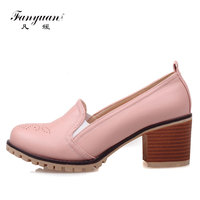 Fanyuan Rome Women Shoes Pumps Comfort Thick Heels ladies High Heels Pump Shoes Casual Slip on Female Carved sapatos femininos
