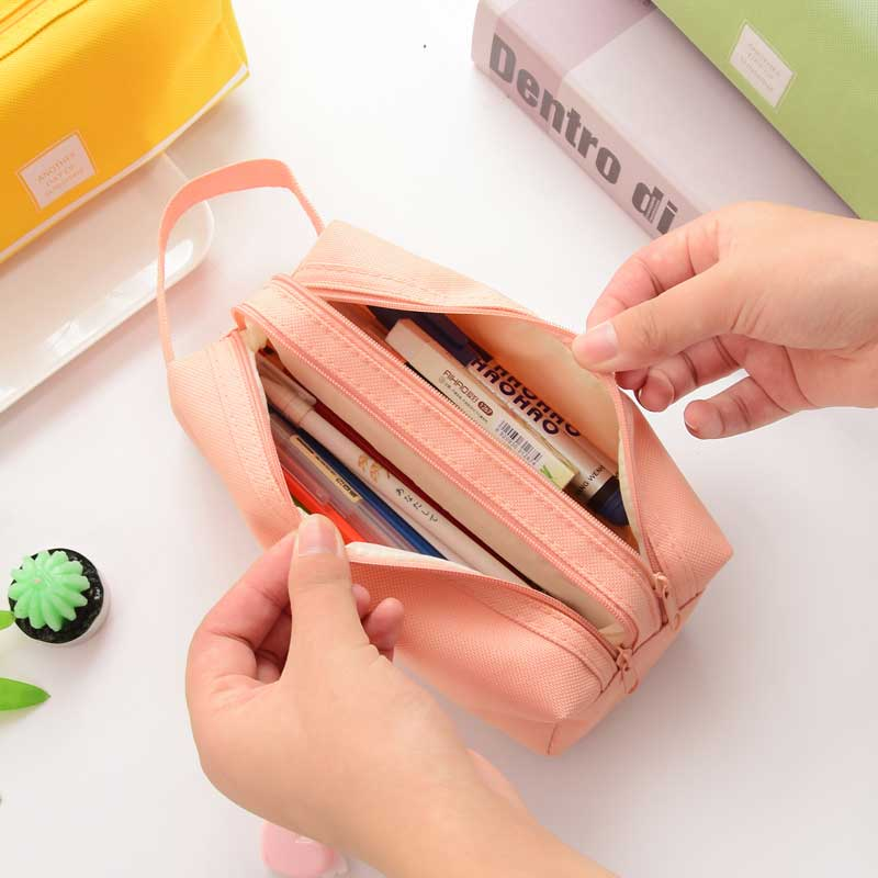 Solid Color Double Zipper Large Capacity Pencil Case Korean Kawaii School Supplies Big Pencil Box For Girls Gifts  Stationery