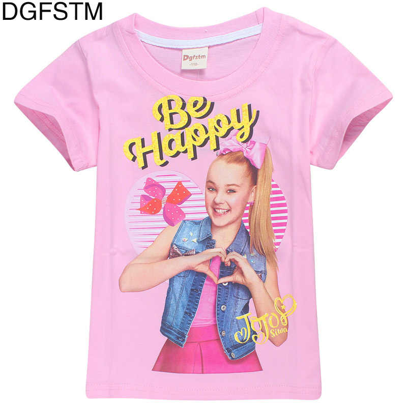 cb34cb5dc765b 100% cotton T-shirt 2018 summer JOJO siwa bow short-sleeved T-shirt girl  clothing moana children's clothing shirt 4 -12Y
