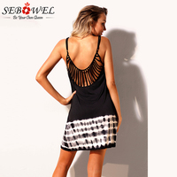 Sebowel 2018 Summer Sexy Beach Dress Women Spaghetti Strap Sleeveless Backless Black Mini Dress Casual Loose