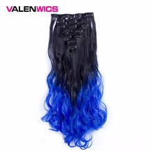 ValenWigs 130g Two Tones 32 Color 7Piece/set Clip in On Hair Extensions 22 Long Wavy Ombre Synthetic Hairpieces For Women