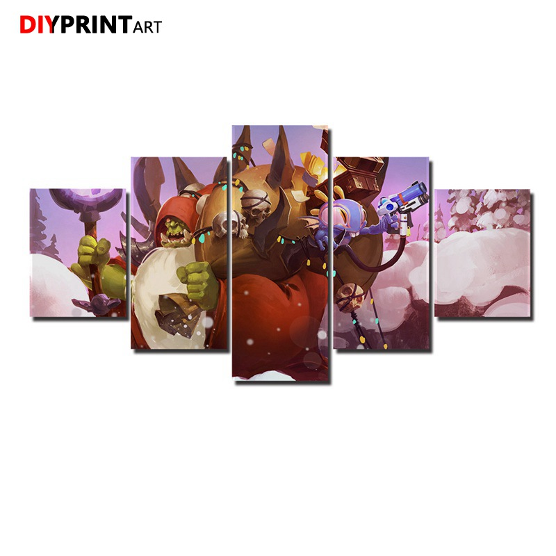 Independent Christmas Warcrafts Orc Warlock Holiday 5 Pcs/set Wall Poster Wall Pictures For Bedroom Livingroom A1465 Always Buy Good Home & Garden
