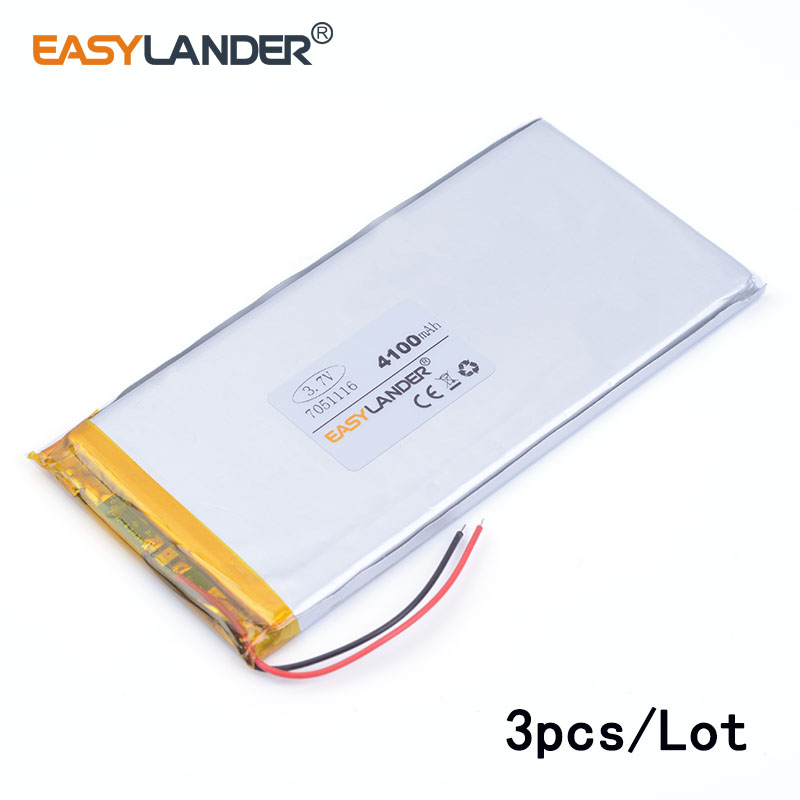 3pcs/Lot <font><b>3.7V</b></font> <font><b>4100mAh</b></font> 7051116 lithium Li ion polymer rechargeable <font><b>battery</b></font> For GPS DVD tablet pc laptop power bank phone image