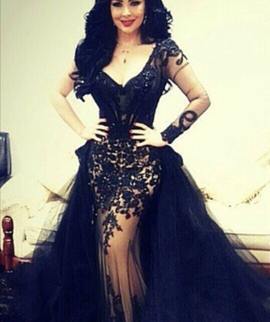 Aliexpress.com : Buy Sexy Black Lace Appliqued Prom Dress Arabian ...