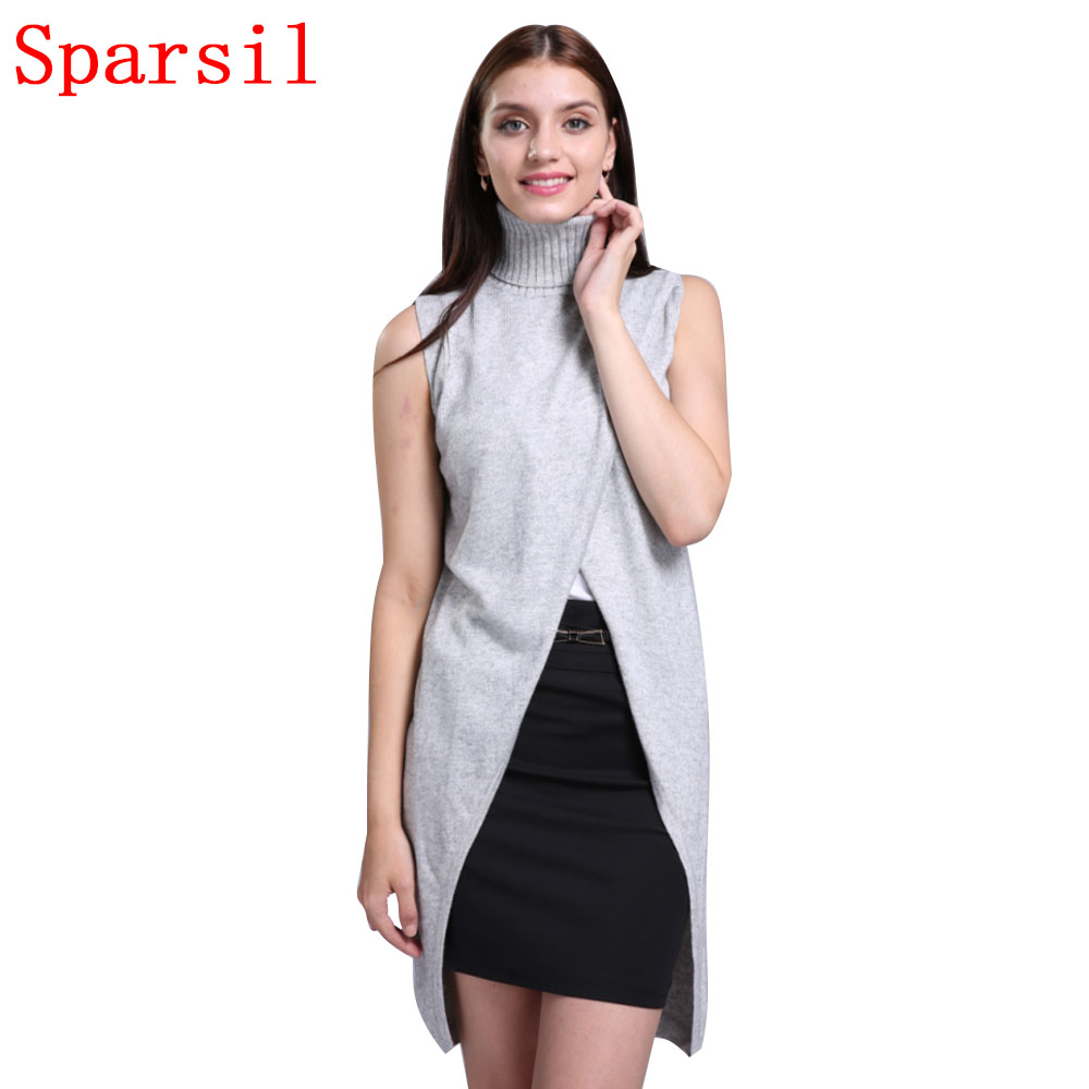 Sparsil Women's Turtleneck Cashmere Blend Sweater Sleeveless Vest Front Split Short Dress Fashion Pullovers Soft Knitwear A48