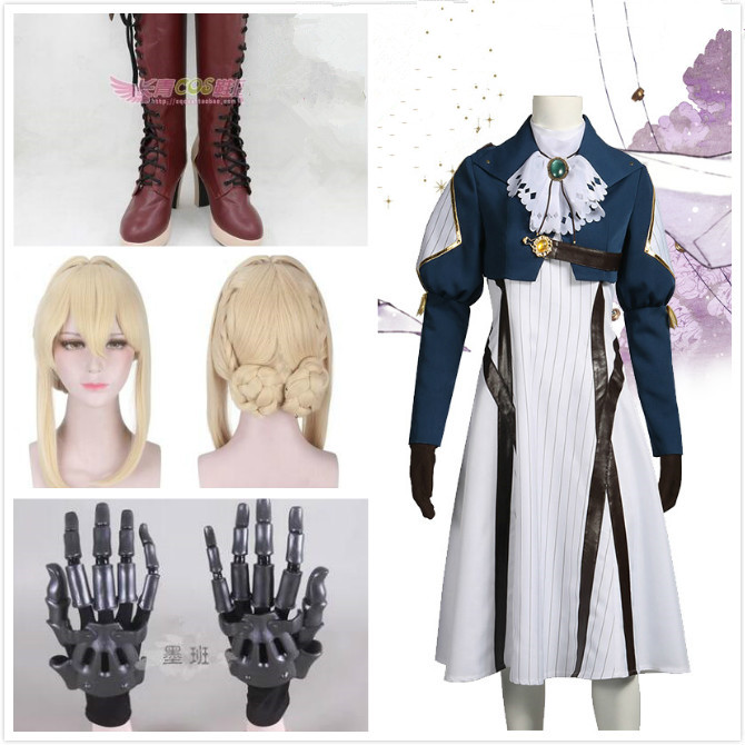 Japanese Anime Violet Evergarden Cosplay Costume Lovely Full Set Costumes Headwear Blonde Hair Red Ribbon For Adult Woman