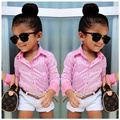 New arrived spring&summer casual girls clothing set 3pcs set(pink shirt+white shorts+belt)stylish girls outfit DS10