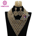 Superior Champagne Gold Dubai Bridal Crystal Costume Necklace Set Nigerian Wedding Fashion Jewelry Set Free Shipping WA841