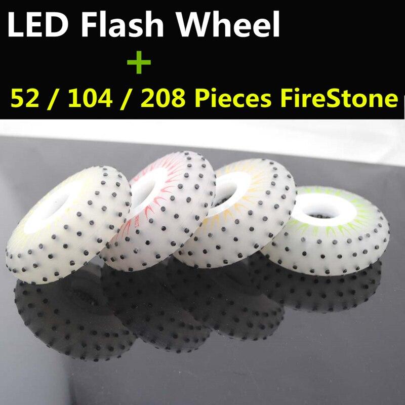 52 104 208 Flint Fire Stone LED Flash Inline Skates Wheel Firestone Skating Rodas Slide Brake 80mm 76mm 72mm Red White 4 Pcs/lot