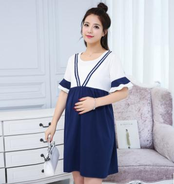 Horn Sleeve Maternity Dress 2018 Summer Korean New Stylish Nursing Tops Long Breastfeeding Clothes for Pregnant Women SZ7512
