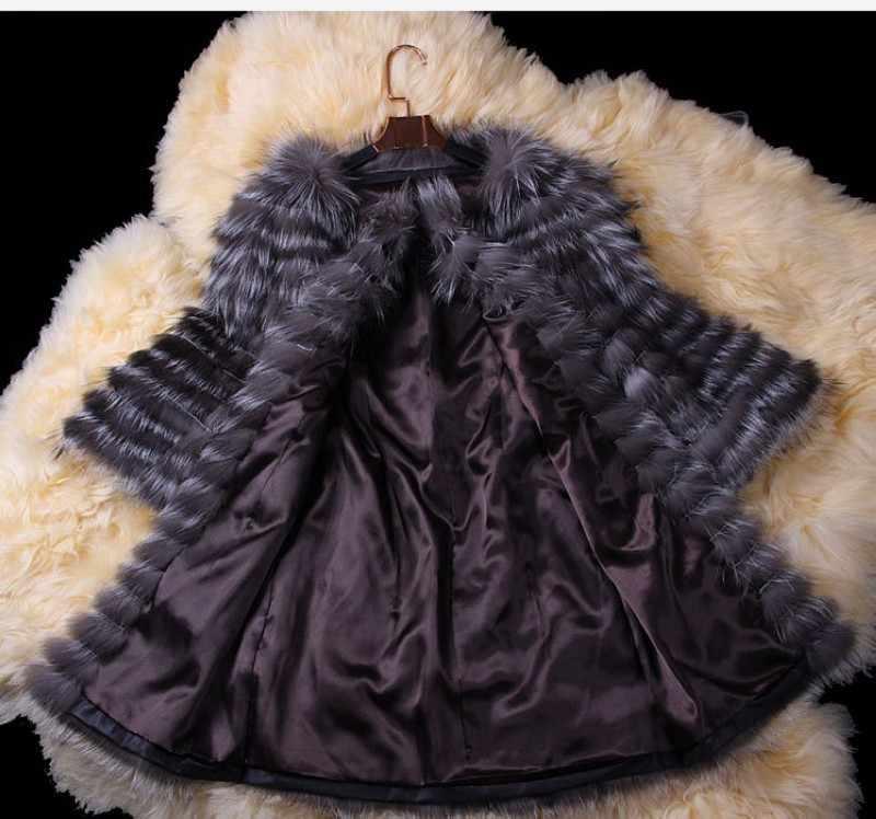 מעיל פרוות שועל אמיתי 3/4 שרוול סתיו חורף נשים אמיתי פרווה הלבשה עליונה תעלת מעיל ארוך גברת מעיל VK3006