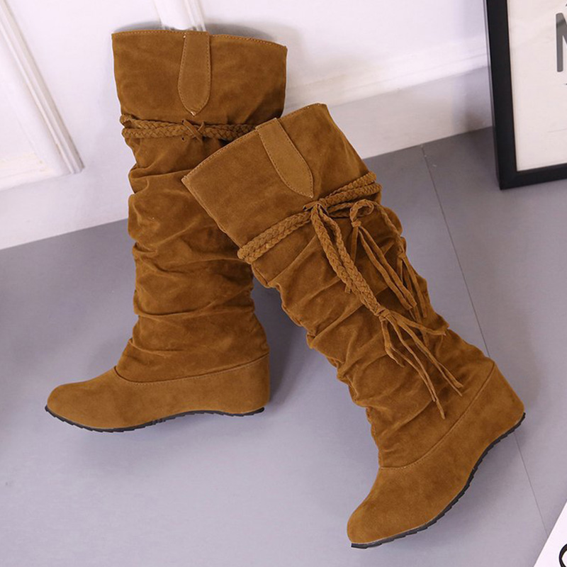 a49cb10ccc1 Women Boots 2018 Mid Calf Boots Fashion Women Shoes Plus Size Winter Boots  Fringe Fenty Beauty Female Boots Suede Ladies Shoes-in Mid-Calf Boots from  Shoes ...