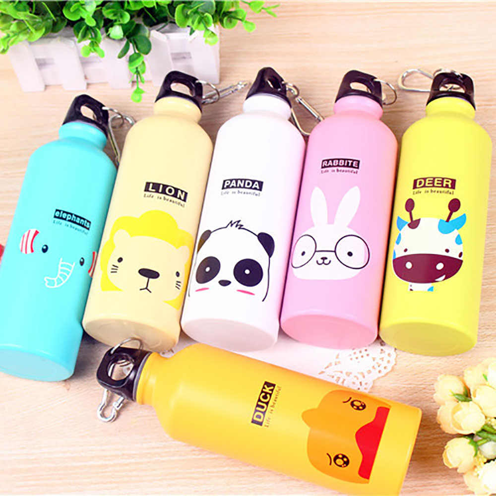 WTCABROE 495ML Cartoon drinkware Gym Sports kids Water Bottles Outdoor Travel Pattern Aluminum Kitchen Accessories Water Bottle