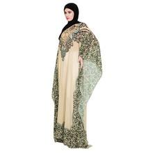 UAE Abaya Dubai Kaftan Malaysia Ruffle Pleated Muslim Women Printing Easy Islamic Clothing Rayon Gown Middle East Long DressY415