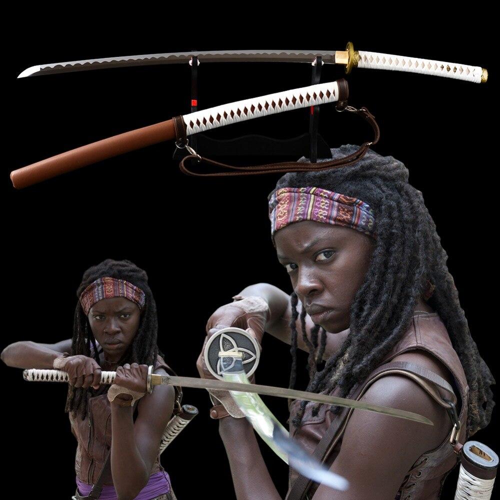 Brandon Swords Hand Walking Dead Sword 1095 Carbon Steel Sharp Combat Japanese Samurai Katana Full Tang Battle Sword Ready Sword
