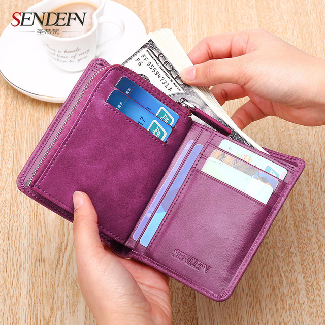 Sendefn Women Wallets Genuine Leather Lady Purse Small Short Wallet Female Vintage Purses Card Holder Ladies Wallet(Pink/Purple)
