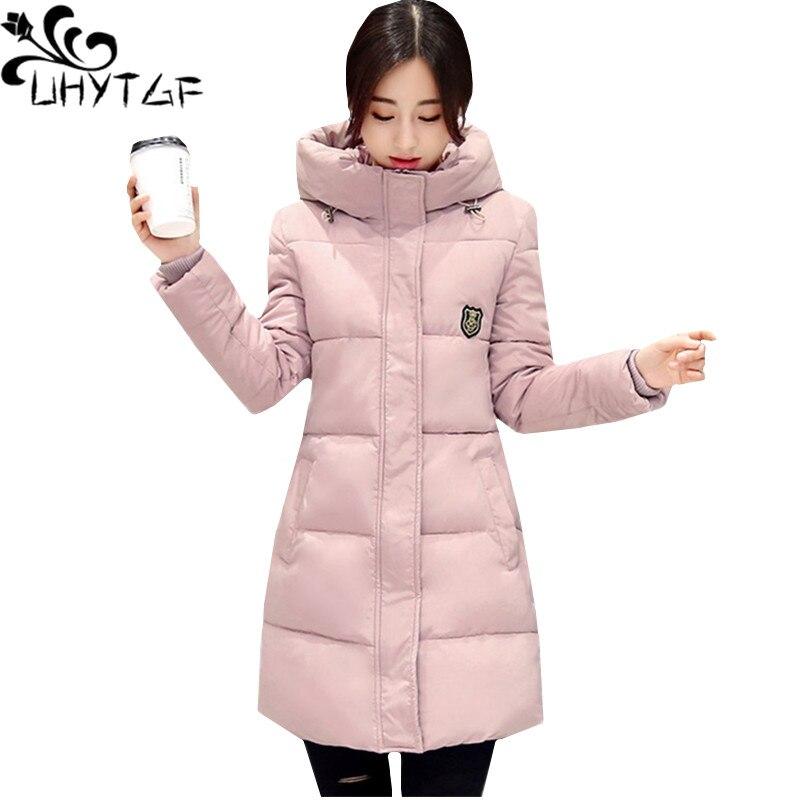 UHYTGF Women Winter Jacket   parka   Cotton Warm Outerwear New Slim Down jacket Basic Coat Hooded Plus size Jacket Elegant Lady 37