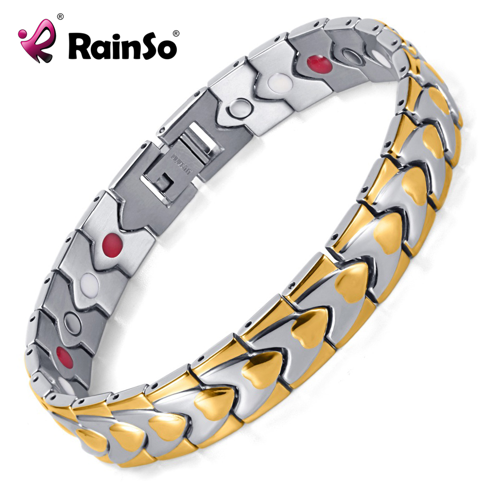 Hot Sale Fashion Jewelry Titanium Healing Bracelet With Magnets aAnd FIR in IP Gold Plating Bracelets OTB-003