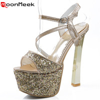 MoonMeek Sexy lady party shoes extreme high heels sandals women shoes fashion platform summer shoes size 34 40 3 colors