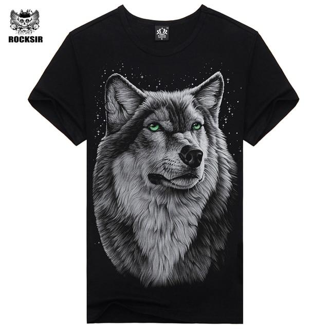 7cf14cf00 Rocksir 2017 Brand Clothing Newest Fashion wolf Design T Shirt Summer Men/Boy  animal Novelty Short Sleeve T-Shirt Tops