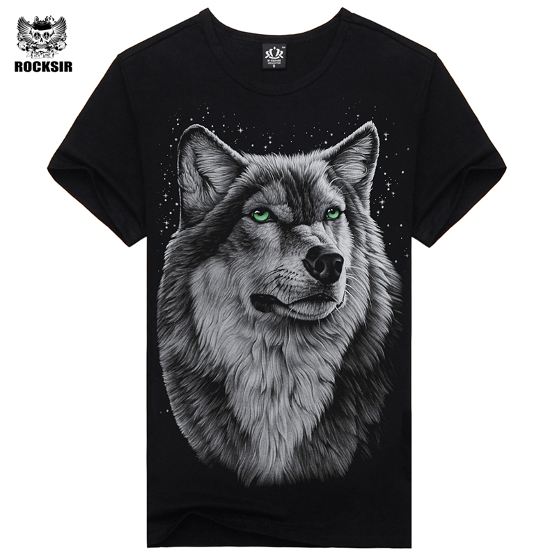 Rocksir 2017 Brand Clothing Newest Fashion wolf Design T Shirt Summer Men/Boy animal Novelty Short Sleeve T-Shirt Tops