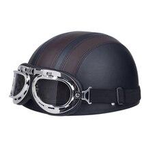 El envío gratuito! PU Cuero de La Motocicleta Cascos de Bicicleta Cascos Media Cara Abierta con Visera Gafas para Hombres y Mujeres