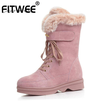 FITWEE Women Genuine Leather Snow Boots Lace Up Plush Fur Winter Shoes For Women Platform Warm Wedge Half Boots Size 34-40
