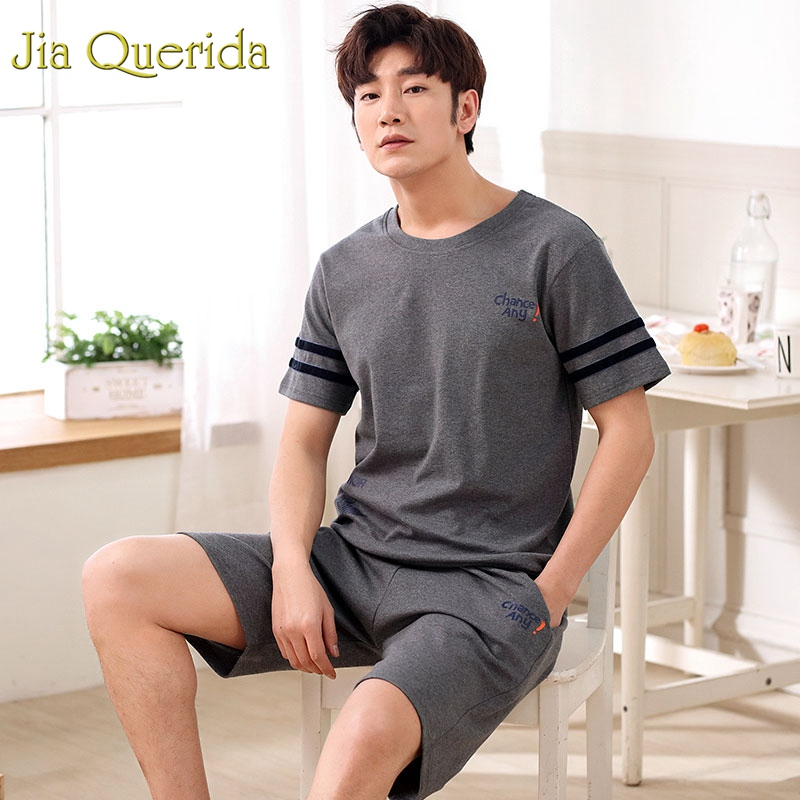 Logical J&q Pajamas Men 2019 New Summer Short Shorts Set 2pcs 100% Cotton Male Sleepwear Solid Leisure Loungerwear Mens Sleeping Clothes High Resilience Men's Sleep & Lounge Men's Pajama Sets