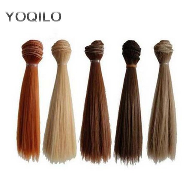 5PCS/LOT Hot Sale DIY BJD Hair Wig Accessories 15CM Synthetic Fiber Straight Hair For Doll