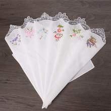 9 6 шт винтажные Хлопковые женские салфетки цветочные ассорти Ткань Портативный Женский носовой платок